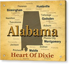 Aged Alabama State Pride Map Silhouette  Acrylic Print by Keith Webber Jr