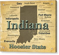 Aged Indiana State Pride Map Silhouette  Acrylic Print by Keith Webber Jr