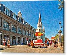 Ahh...new Orleans Impasto Acrylic Print by Steve Harrington