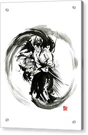 Aikido Techniques Martial Arts Sumi-e Black White Round Circle Design Yin Yang Ink Painting Watercol Acrylic Print by Mariusz Szmerdt