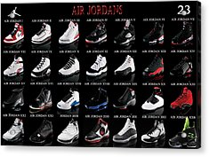 Air Jordan Shoe Gallery Acrylic Print by Brian Reaves