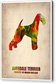 Airedale Terrier Poster Acrylic Print by Naxart Studio