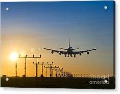 Airplane Landing At Sunset, Canada Acrylic Print by David Nunuk