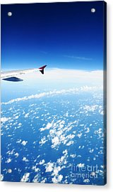 Airplane Wing Against Blue Sky Horizon Acrylic Print by William Voon