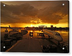 Airport After The Rain Acrylic Print by Chikako Hashimoto Lichnowsky