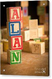 Alan - Alphabet Blocks Acrylic Print by Edward Fielding