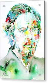 Alan Watts Watercolor Portrait Acrylic Print by Fabrizio Cassetta