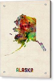 Alaska Watercolor Map Acrylic Print by Michael Tompsett