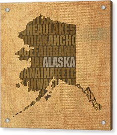 Alaska Word Art State Map On Canvas Acrylic Print by Design Turnpike