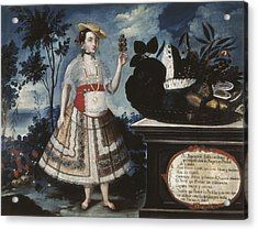Alban, Vicente 18th C.. A Young Woman Acrylic Print by Everett