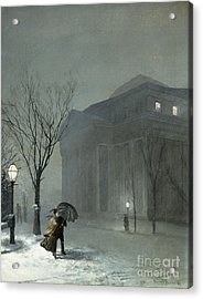 Albany In The Snow Acrylic Print by Walter Launt Palmer