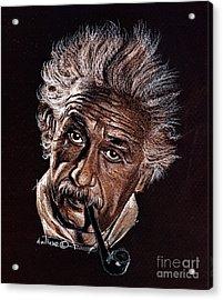 Albert Einstein Portrait Acrylic Print by Daliana Pacuraru