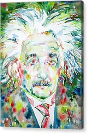 Albert Einstein Watercolor Portrait.1 Acrylic Print by Fabrizio Cassetta