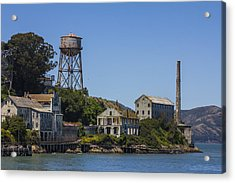 Alcatraz Dock And Water Tower Acrylic Print by John McGraw