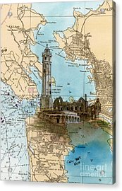 Alcatraz Island Lighthouse Ca Nautical Chart Map Art Acrylic Print by Cathy Peek