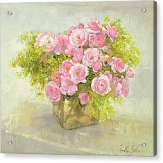 Alchemilla And Roses Acrylic Print by Timothy Easton