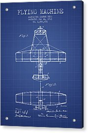 Alexander Graham Bell Flying Machine Patent From 1913 - Blueprin Acrylic Print by Aged Pixel