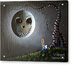Alice In Wonderland Original Artwork - Alice And The Cheshire Moon Acrylic Print by Shawna Erback