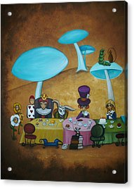 Alice In Wonderland Art - Mad Hatter's Tea Party I Acrylic Print by Charlene Murray Zatloukal