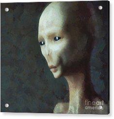 Alien Grey Thoughtful  Acrylic Print by Pixel Chimp