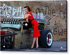 Alisha With Radillac And Graffiti Acrylic Print by Paul Wash