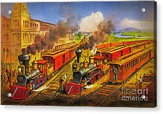 All Aboard The Lightning Express 1874 Acrylic Print by Lianne Schneider