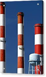 All American Industry Smokestacks Acrylic Print by Amy Cicconi