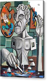 All In A Days Work Self Portrait Acrylic Print by Anthony Falbo