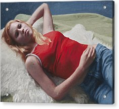 Allison Reclining Acrylic Print by Charles Pompilius