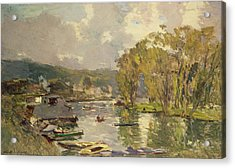 Along The Seine At Meudon Acrylic Print by Albert Charles Lebourg