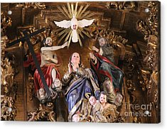 Altar Detail Tlaxcala Mexico Acrylic Print by Linda Queally
