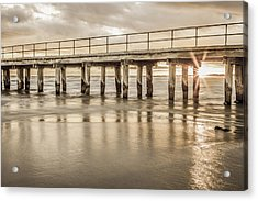 Altona Pier In Sepia Acrylic Print by Shari Mattox