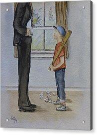 Am I In Trouble Dad... Broken Window Acrylic Print by Kelly Mills