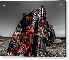 Amarillo - Cadillac Ranch 005 Acrylic Print by Lance Vaughn