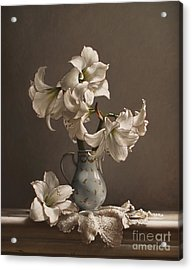 Amaryllis In A French Chocolate Pot Acrylic Print by Larry Preston