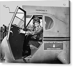 Amelia Earhart - 1936 Acrylic Print by Daniel Hagerman