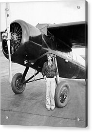 Amelia Earhart And Her Plane Acrylic Print by Underwood Archives