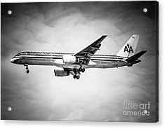 Amercian Airlines Airplane In Black And White Acrylic Print by Paul Velgos