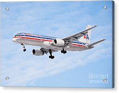 Amercian Airlines Boeing 757 Airplane Landing Acrylic Print by Paul Velgos