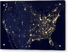 America At Night Acrylic Print by Adam Romanowicz