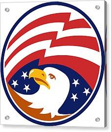 American Bald Eagle With Flag Acrylic Print by Aloysius Patrimonio