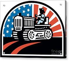 American Farmer Riding Vintage Tractor Acrylic Print by Aloysius Patrimonio