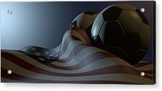 American Flag And Soccer Ball Acrylic Print by Allan Swart