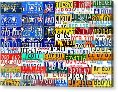 American Flag Scrap Metal Recycled License Plate Art Of The 50 States Acrylic Print by Design Turnpike