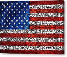 American Flag - Usa Stone Rock'd Art United States Of America Acrylic Print by Sharon Cummings