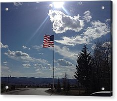 American Flag Waving In The Sunrays Acrylic Print by Shawn Hughes