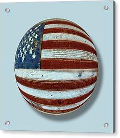 American Flag Wood Orb Acrylic Print by Tony Rubino