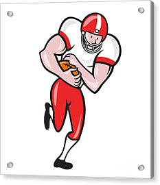 American Football Running Back Ball Cartoon Acrylic Print by Aloysius Patrimonio