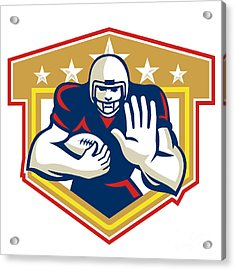 American Football Running Back Fending Shield Acrylic Print by Aloysius Patrimonio
