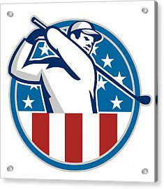 American Golfer Playing Golf Retro Acrylic Print by Aloysius Patrimonio